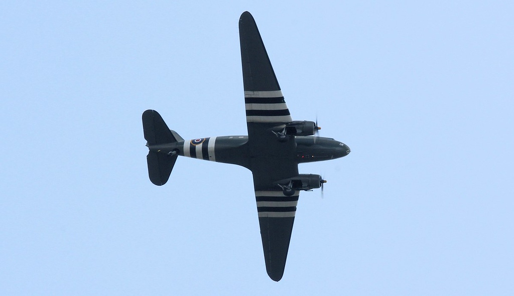 BBMF C-47 Dakota, ZA947 turns downwind after making a low pass along the airfield.<br /> By Correne Calow.