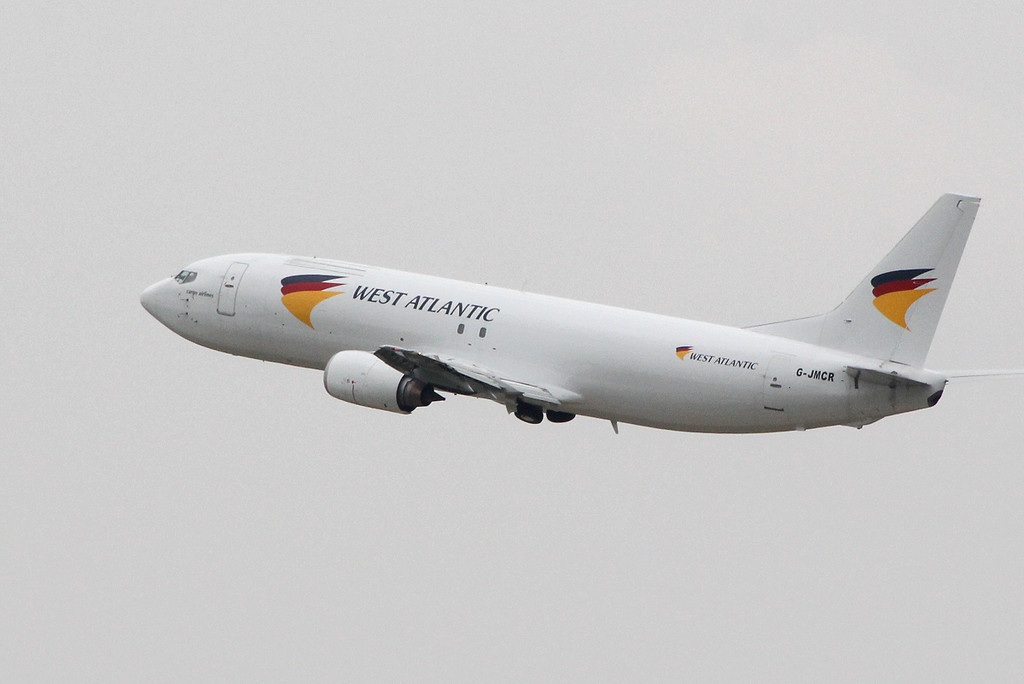 West Atlantic 737-400, G-JMCR<br /> By Clive Featherstone.