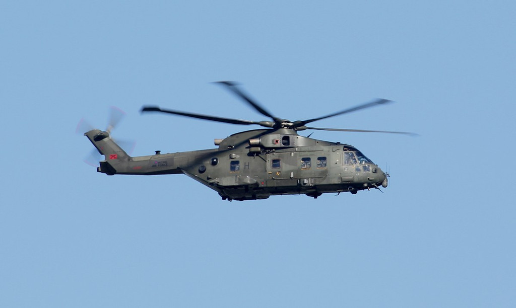RAF Merlin HC3, ZJ124/H made a missed approach just after 1800<br /> By Jim Calow.