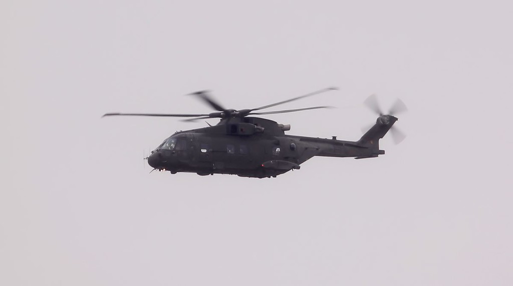 Merlin HC.3 ZJ127 was seen transiting East to West to the North of the field at 16:23.<br /> By Jim Calow.