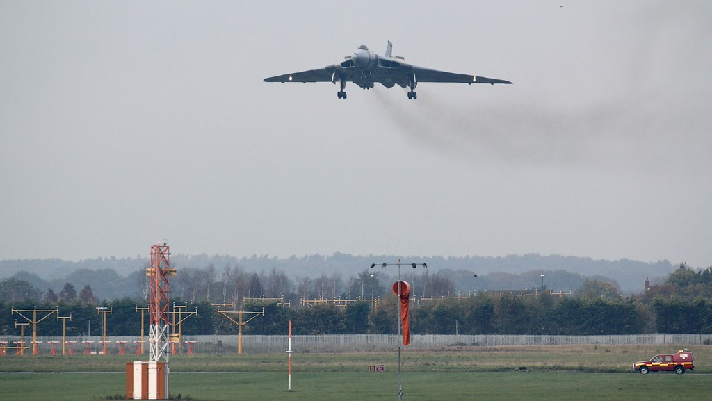XH558 on finals for the last time.<br /> By Jim Calow.