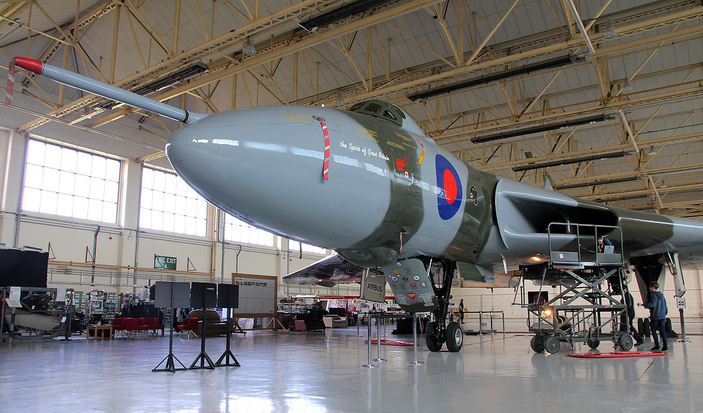 XH558 looking resplendent in her hangar.<br /> By Jim Calow.