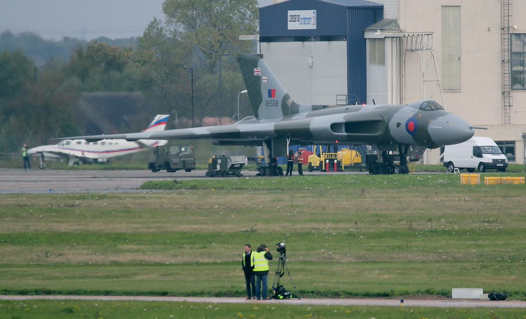 Film crews were present to record what will almost certainly be XH558's penultimate flight.<br /> By Jim Calow.